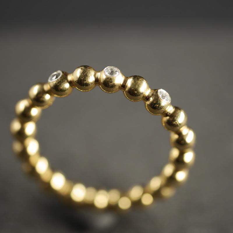 (13133) Kugelring Gelbgold mit 3 Billanten